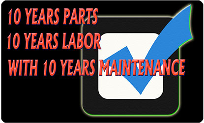 Your air conditioner is guaranteed for 10 full years parts and labor