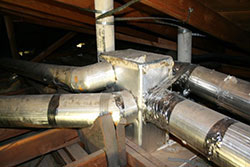 Aluma-bestos Asbestos insulated home air ducts. Air conditioning service and Heating service.