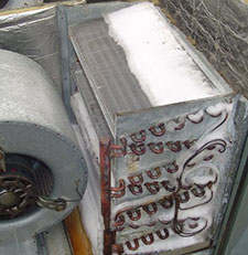 Ice forming on the indoor coil, the evaporator coil, can flood a home